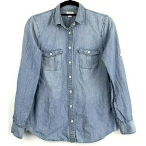 J. Crew Classic Chambray Shirt Perfect Fit Blouse